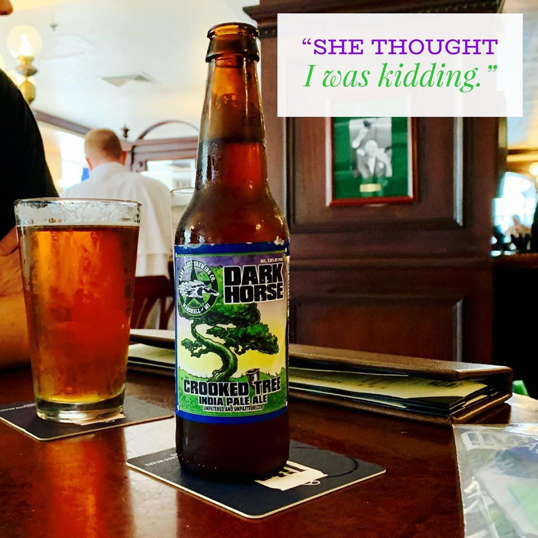 """""""I had asked for a glass with my beer. She thought I was kidding..."""" Read more ->    @DarkHorseBrewCo #hopsmash #darkhorsebrewing #michiganbeer #mibeer #michigancraftbeer #craftbeer #beer"""