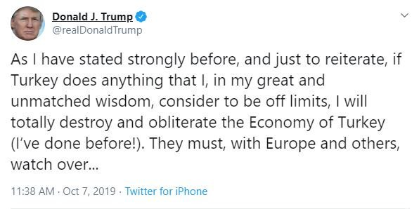 "Trump's narcissism is a threat to our national security and stability around the globe. Our real ""great and unmatched wisdom"": democracy and peace."