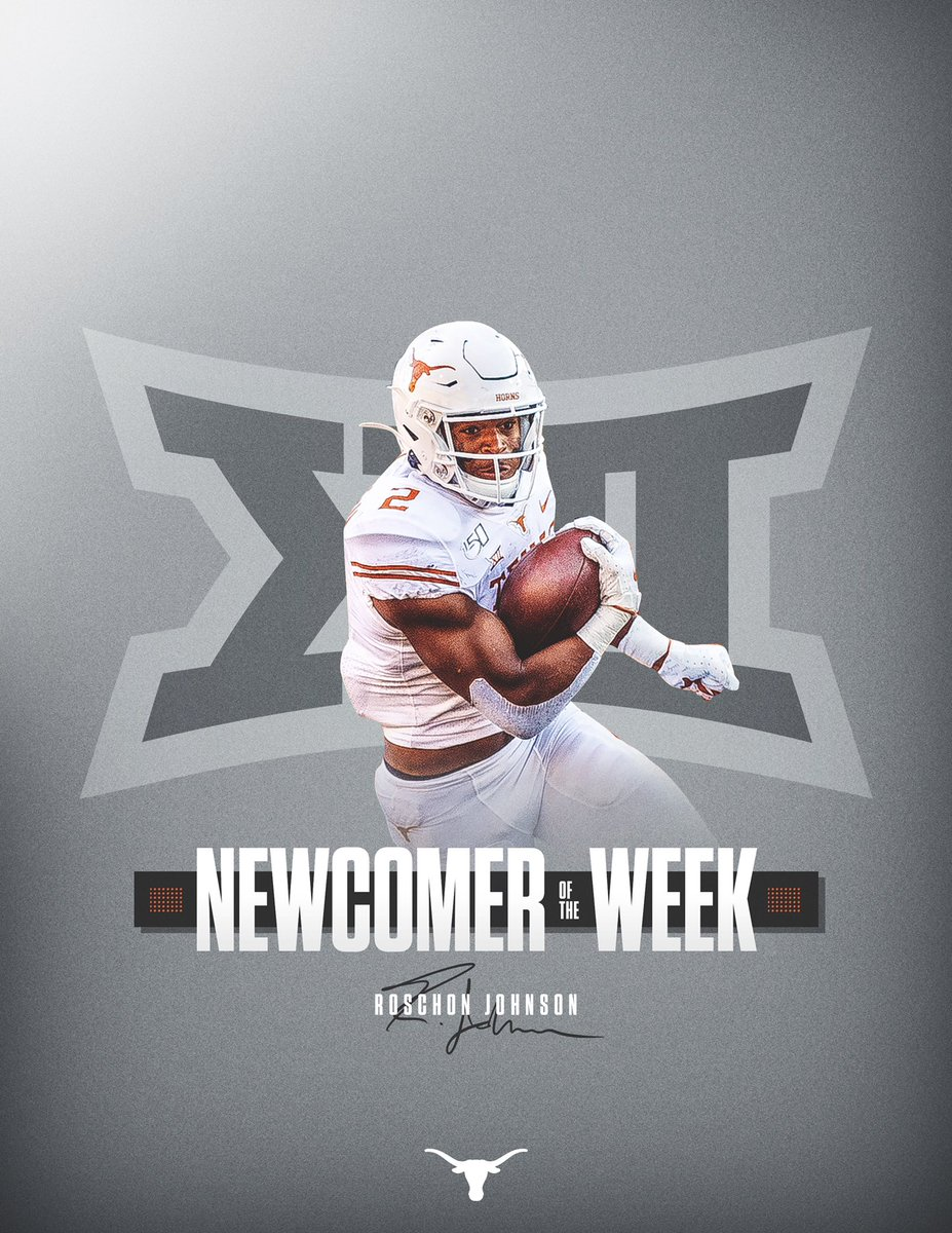 Roschon Johnson earns @Big12Conference Newcomer of the Week. 🤘 #ThisIsTexas #HookEm