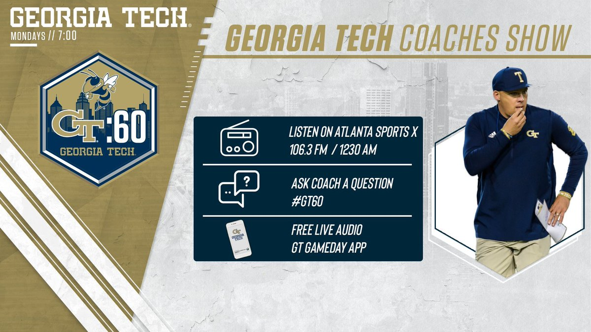 #GT60 is coming up at 7p 📡 @CoachCollins and @Coach_K2 join @AndyDemetra to talk 🏈 #404theCULTURE 📻 @AtlantaSportsX 💻 buzz.gt/LiveTuneIn 📱 GT Gameday App