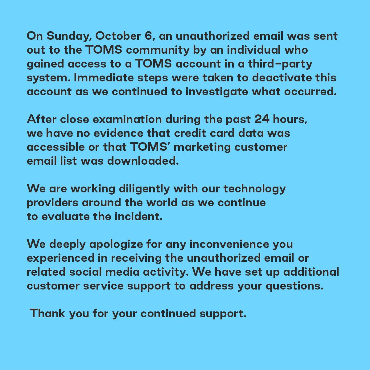 """Uživatel TOMS na Twitteru: """"A message from our CEO … """""""