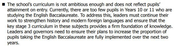 @Ofstednews view on the Ebacc spelt out in black and white in Boldon Schools report.