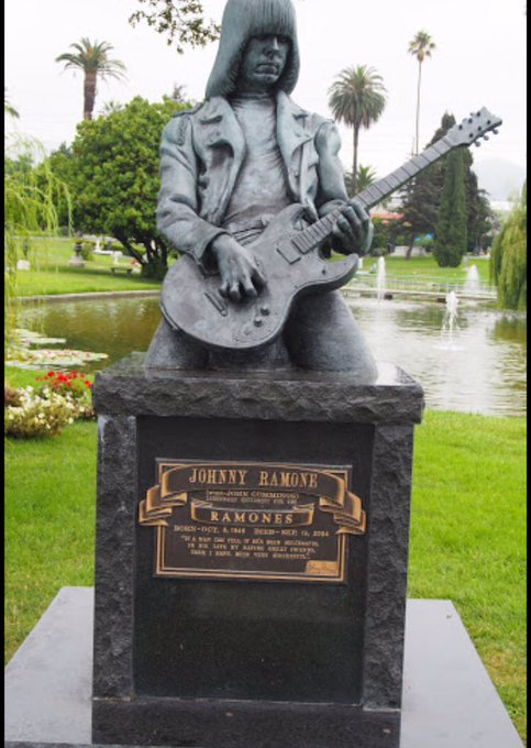 Johnny Ramone s bday is tomorrow, happy bday! His grave is insanely cool. Even in death this bitch is extra