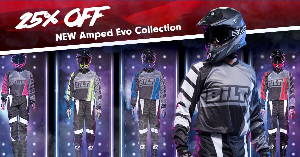 Up to 25% OFF select dirt gear including the NEW BiLT Amped Evo collection.  BiLT Off-Road Gear: https://t.co/lYcsoPphJm https://t.co/a2ywNOVZaa