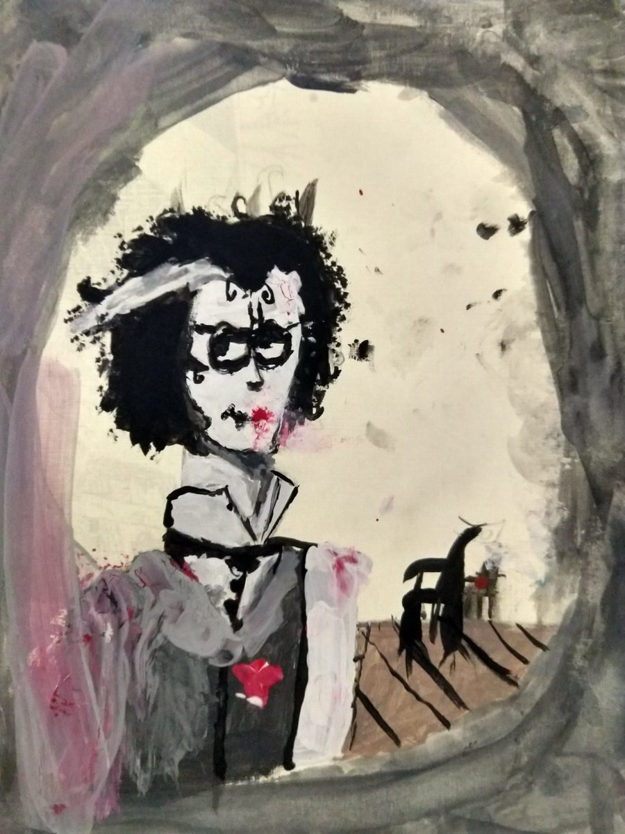 7th Grade Sweeney Todd Inspired image! So funny thing, the red was an accident but Griffin made it work!  How cool is that?<br>http://pic.twitter.com/pbKTfS7plT