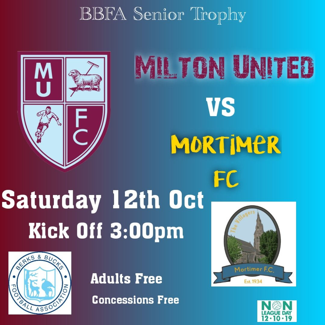 Its #NonLeagueDay this weekend and we are offering FREE ENTRY to everyone who attends our @BerksBucksFA Senior Trophy game against @mortimervillage.