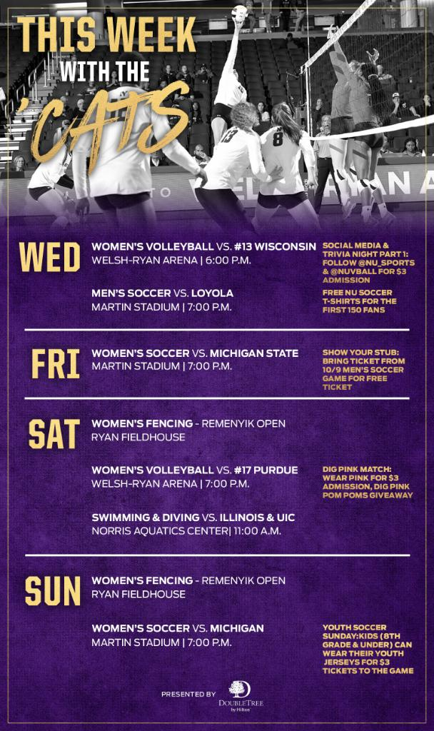 Make plans to join the Cats this week! Check out the rundown of our home events ⬇️ 🎟️ bit.ly/NUThisWeek #B1GCats x #GoCats