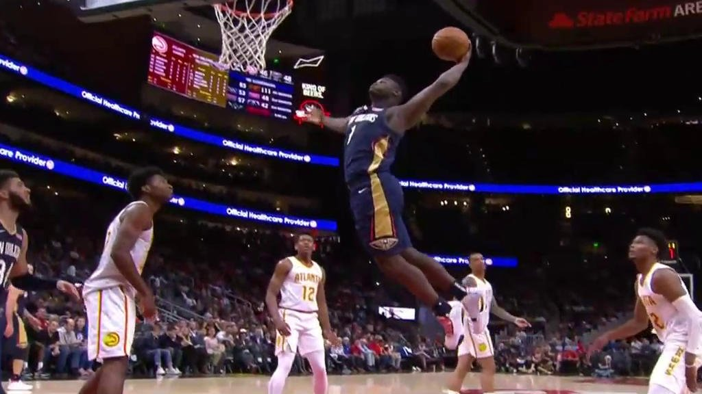 Zion slams it home again 🔥 Get used to this, @NBA