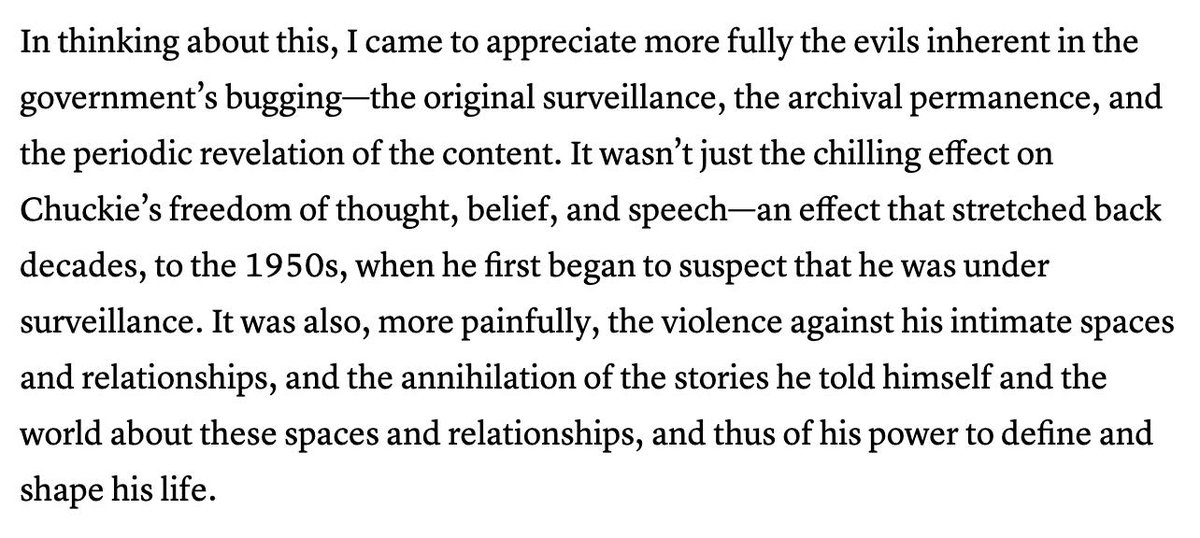 This excerpt from @jacklgoldsmiths new book is beautiful and riveting. I thought this was a really powerful description of surveillances annihilat[ing] effects. Head-spinning that this was written by a lawyer who signed off on (part of) Stellarwind. theatlantic.com/magazine/archi…