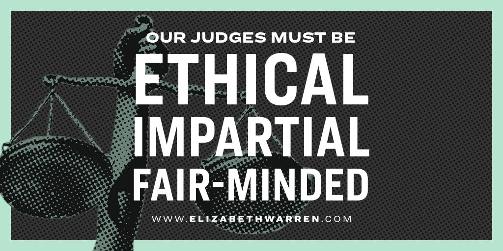 Our legal system loses its legitimacy when the American people don't believe that judges will be ethical and fair-minded. Its time to make sure our federal judges are held to the highest ethical standards. And Ive got a plan for that: ewar.ren/restore-trust