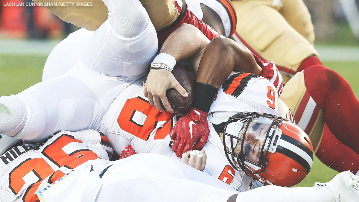 The Browns offense in the first half: Punt Interception Punt Fumble Field Goal Interception Punt End of half