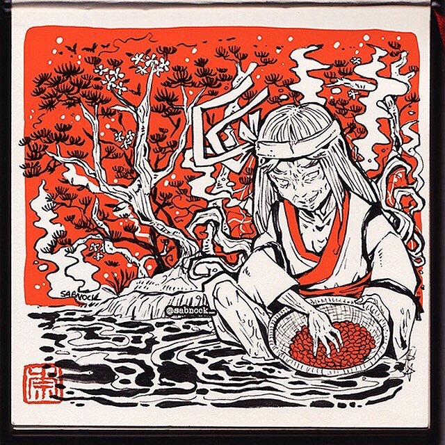 "S A B N O C K on Twitter: ""https://t.co/JB44VjOGfZ #inktober day 6 - HUSKY  / Azuki Baba ( 小豆婆 )~✨ #小豆婆 #赤 #azukibaba #horror #azukiarai #inktober2019  #hag #ghost #drawing #yokai #妖怪 #"