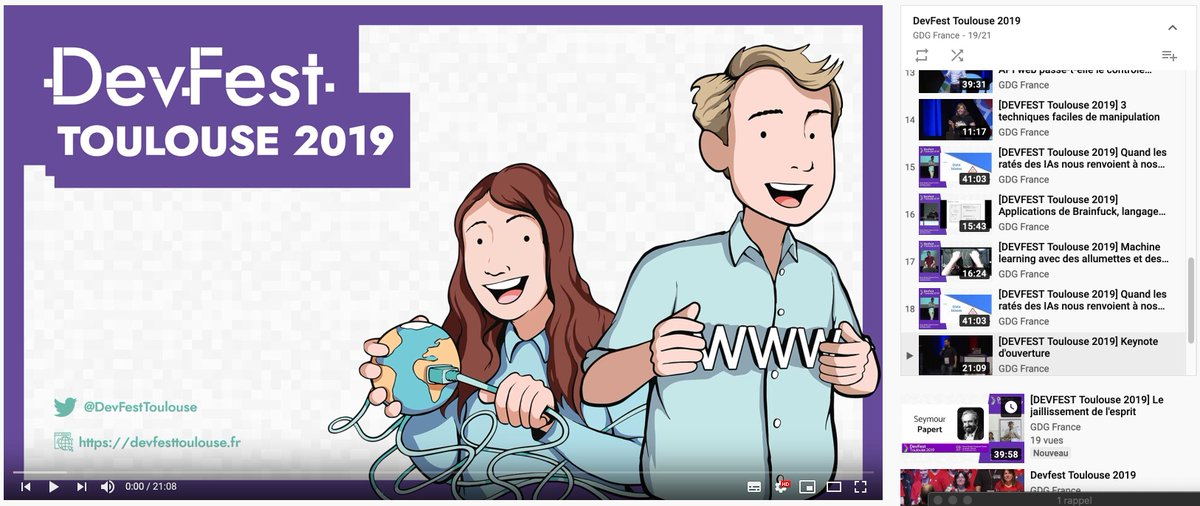 Guess what? Videos of #DevFestToulouse 2019 are already online on Youtube!  https://www. youtube.com/watch?v=AFhHrQ IAw3g&list=PLuZ_sYdawLiXq_8YaaROhaUazHQVPiELa&index=19  … <br>http://pic.twitter.com/o0hVg3Ygw7