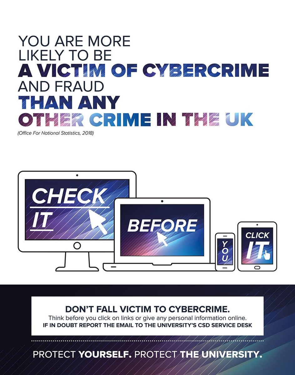 Following increased attempts to secure personal data via email, were launching an awareness campaign to warn our staff and students about cybercrime. Find out more about the campaign, including how you can remain vigilant to the risks online: bit.ly/3397mpK