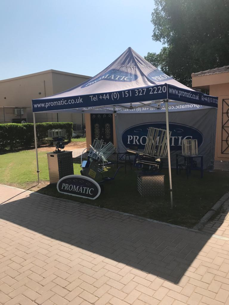 Promatic stand all set and ready at Al Ain Equestrian, Shooting & Golf Club for ISSF - International Shooting Sport Federation World Cup Shotgun Final #clayshooting #olympictrap #olympicskeet #alain #shotgun #ISSFpic.twitter.com/J73rCElLhK