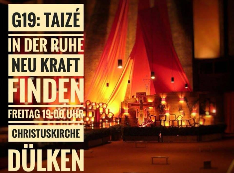 Am Freitag, 11. Oktober, feiern wir um 19:00 Uhr, am Wechsel von Alltag zu Wochenende, unseren #Gottesdienst #G19: #Taizé. Lieder, Texte, Ruhe... Herzliche Einladung! #ekduelken