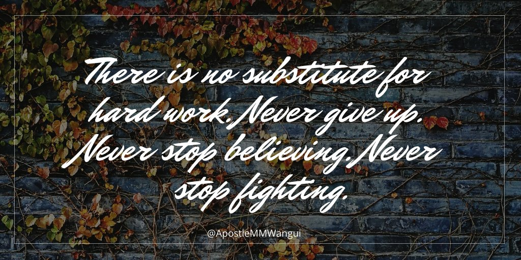 There is no substitute for hard work. Never give up. Never stop believing. Never stop fighting. #TestimonyTuesday #GospelReloaded #INEOS159 #KipchogeINEOSChallenge #TuesdayThoughts #TuesdayWisdom #TestimonyMotivation #Jesus #Amen #Scripture #Bible