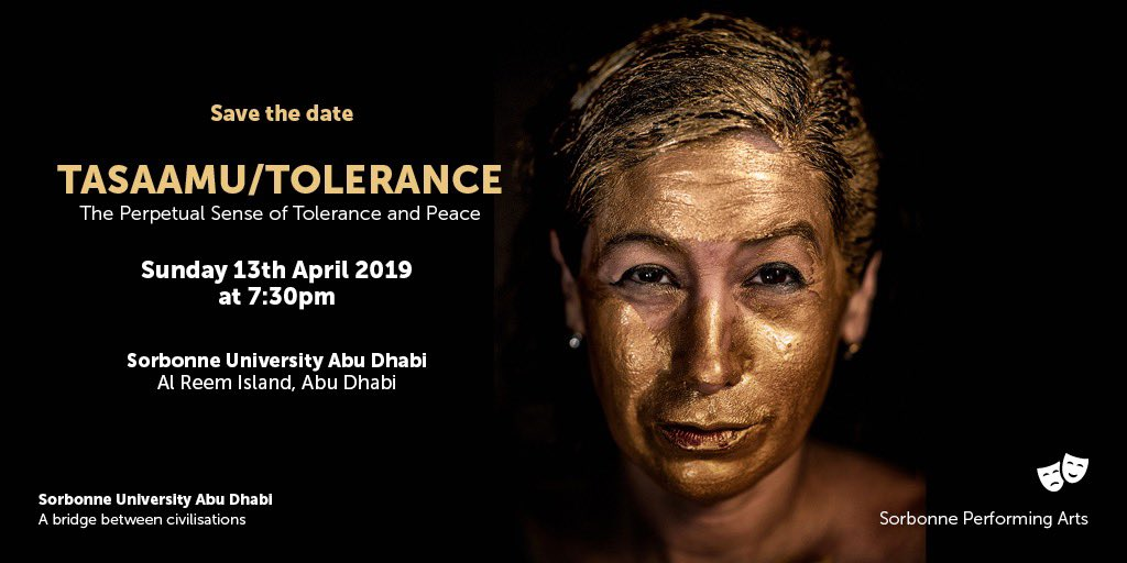 Don't miss the chance and join us for the opening of the art exhibition TASAAMU/TOLERANCE, the perpetual sense of tolerance and peace by the international artist Maria Veronica Leon V. #sorbonnead #arts #artexhibition #education #tolerance #year_of_tolerance #uae #abudhabi https://t.co/uGOc0SOEp9