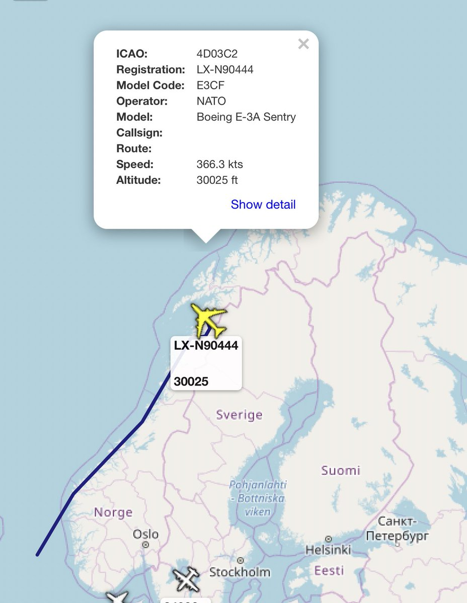Jamming On Twitter I Don T Know If It Has Anything To Do Withe The Russian Airborne Bombers But Nato Awacs Is Operating Over North Of Norway Https T Co 1qgh53lpnb