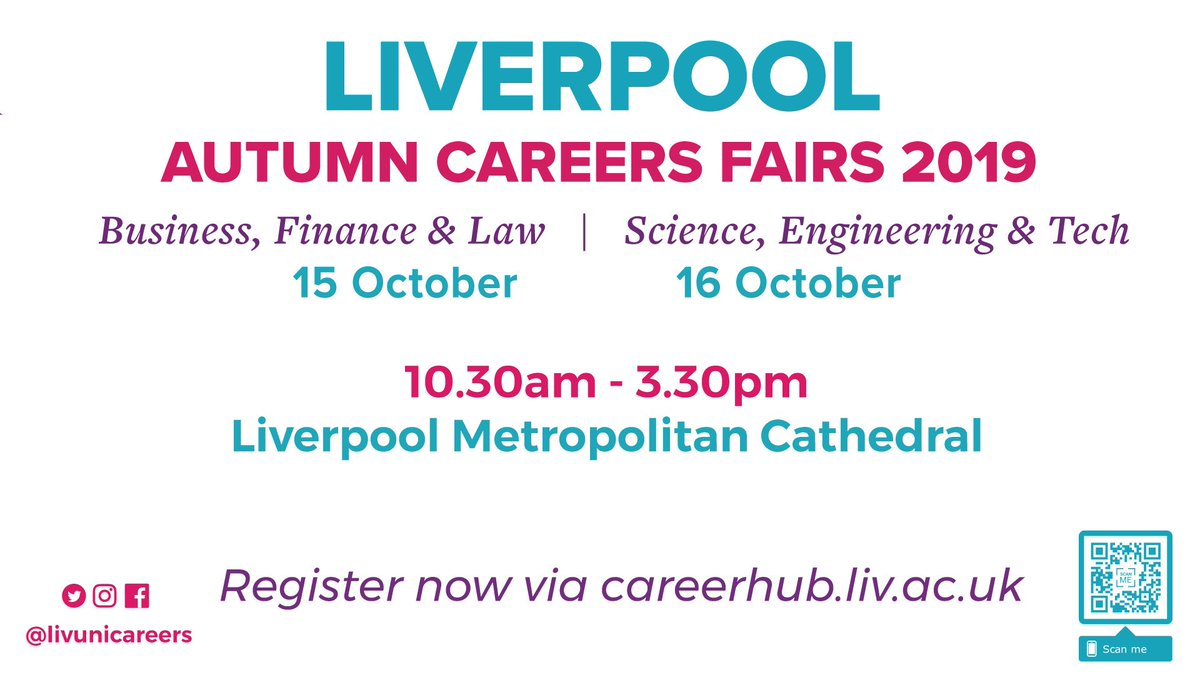 Our @livuni autumn #CareersFairs are taking place on 15 & 16 October in the Crypt Hall of @LiverpoolMet Cathedral. Students from all subjects welcome: 70% of opportunities open to any degree so theres something for everyone! Find out more & register: bit.ly/2oeFimp