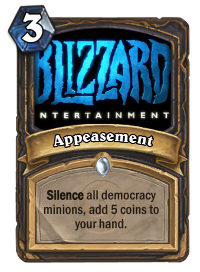 Image result for blitzchung hearthstone no demoncracy 3 coins