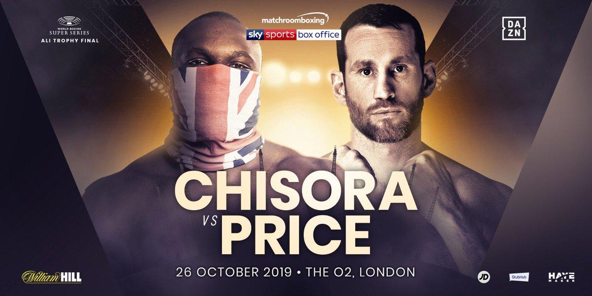ALL BRITISH HUMDINGER!!! October 26 just got a whole lot bigger! @DerekWarChisora v @DavidPrice_1 @theo2london live on @skysportsboxing @dazn_usa 🔥 https://t.co/XkAtCgQqXS