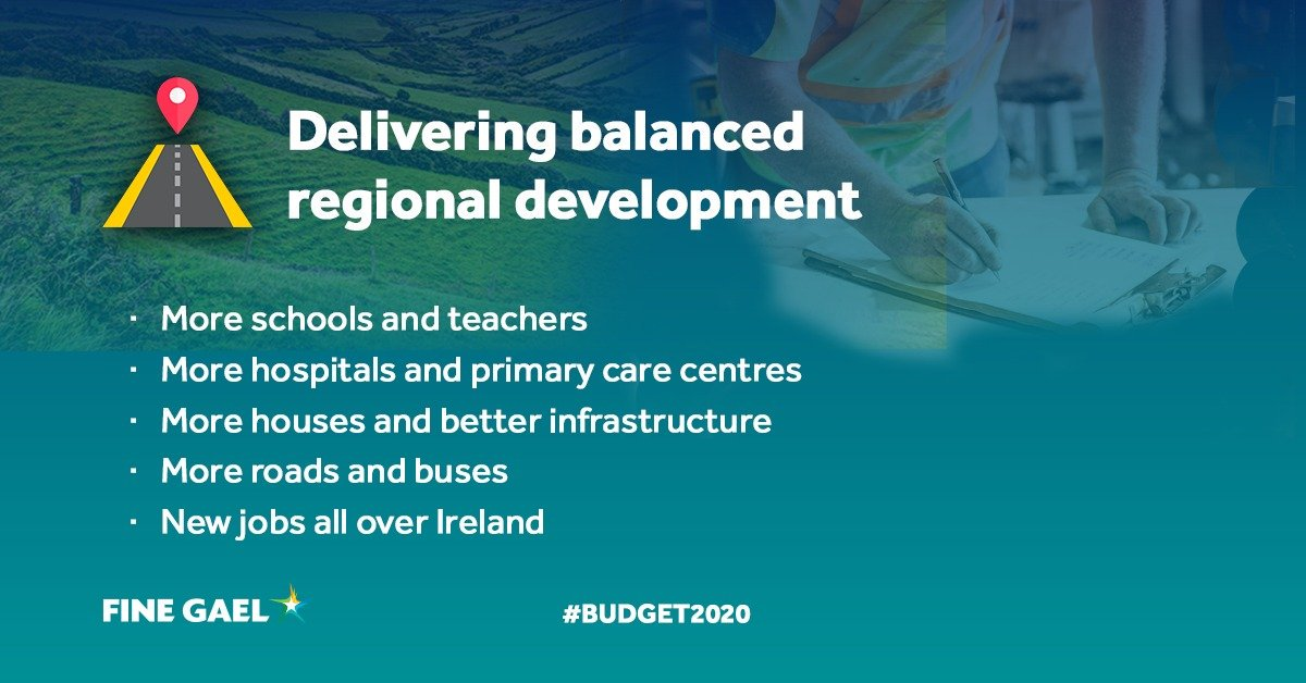 For #ProjectIreland2040 - 11% or €800 million extra for public infrastructure - schools, healthcare facilities, roads, buses, 11,000 extra social homes, culture, sport, broadband #Budget2020