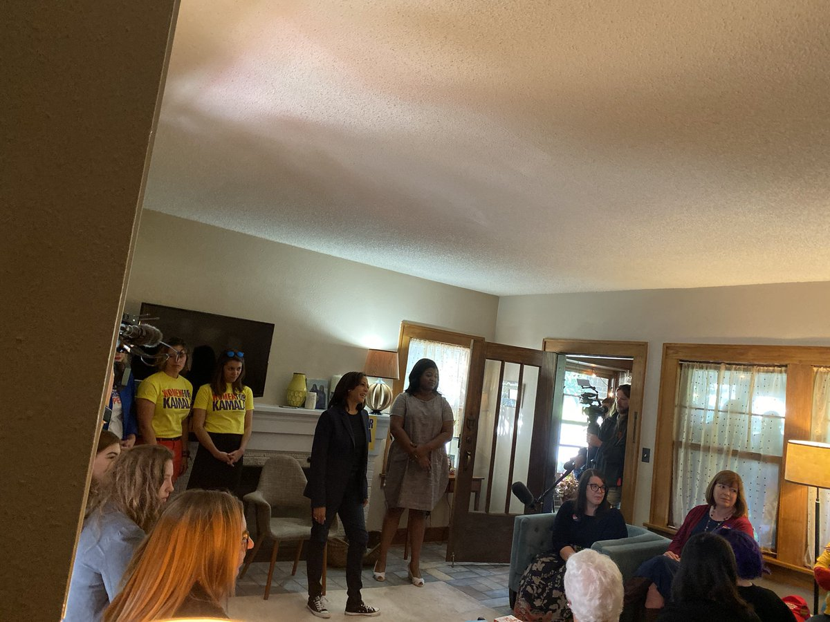 """Back when many Democrats were talking about civil unions, I was performing marriages,"" Kamala tells a living room of Iowa precinct captains when a mom and daughter share concerns about attacks on LGBT community. For many, it's the first time they are seeing her in small settings"