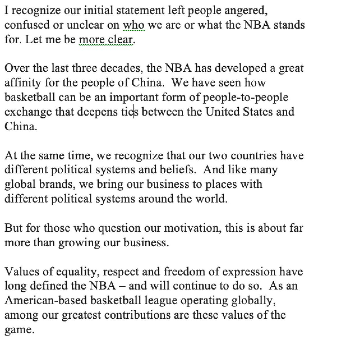 NBA Commissioner Adam Silver with a lengthy statement on the China situation
