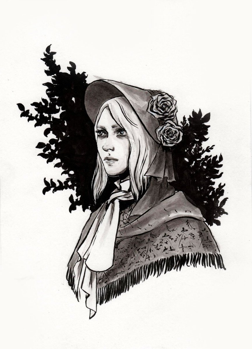 Day 8 - Plain doll  I've started playing Bloodborne and wanted to do some fanart  #inktober #inktober2019