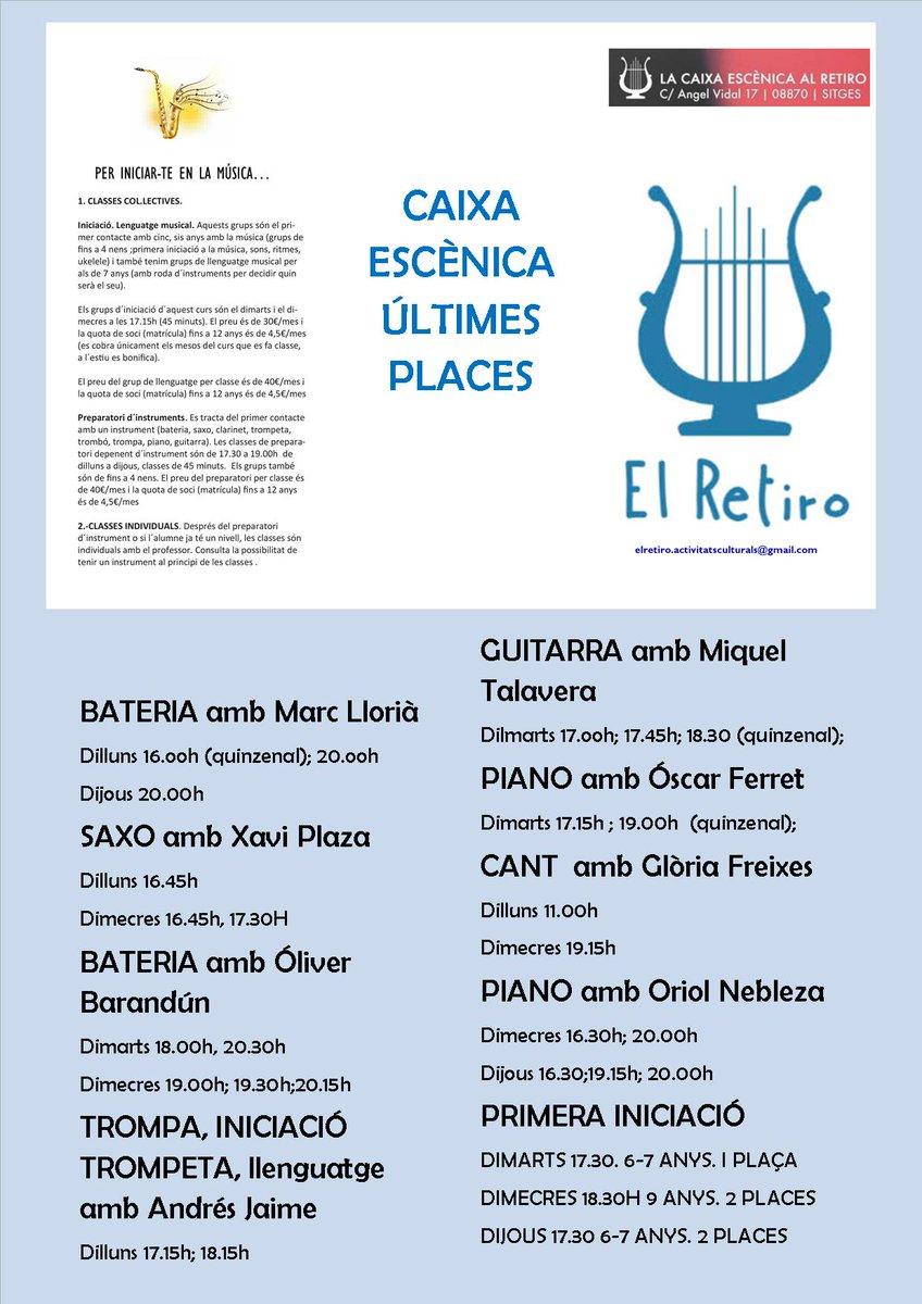 #CaixaEscènicade#ElRetiro#Sitges . Ja hem començat les classes de#música: classes personalitzades d´instrument #cant. Classes col.lectives de llenguatge músical, i combos. Aquest dijous 10 d´octubre comença el grup de #Gospel 20.15h a la sala d´actes . Us esperem!