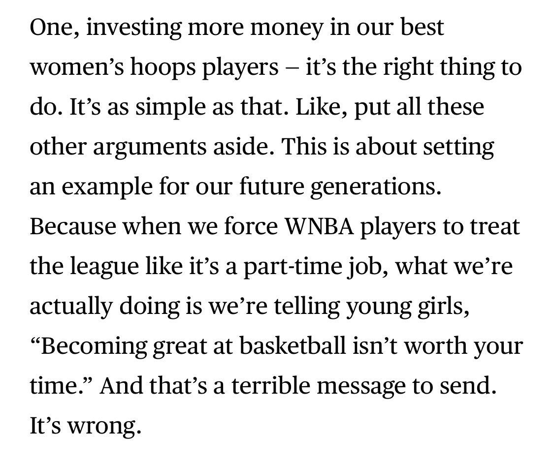 """My favorite part of Bradley Beal's @PlayersTribune essay. If you are not paying women what they deserve what message are you sending? """"You are less than"""" """"You don't deserve as much because you are a woman"""" This applies to companies, businesses, sports leagues alike. https://t.co/VJGjOhOglG"""