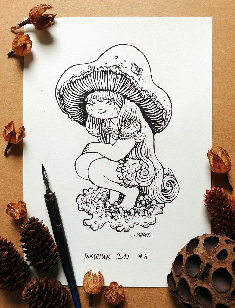 Quand vous trouvez un coin à champignons, faites attention à ne pas casser sa petite maison~ 🍄 #Inktoberday8