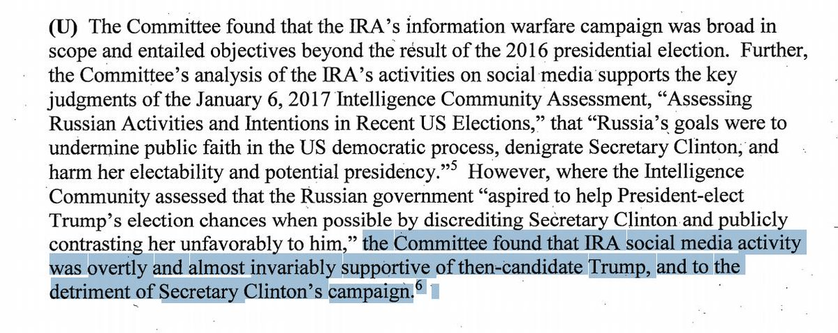 JUST IN: Senate Intel Committee report on Russian social media activity in 2016 election affirms IC conclusion that Russian online campaign overwhelmingly opposed Clinton and boosted Trump.  https://t.co/T3KD3Y6OPC https://t.co/kpMO7JNjS6