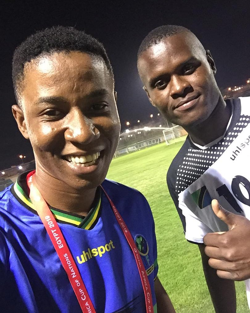 Throwback in Cairo #afcon2019 Me and Tanzania national team captain who play for KRC Genk in Belgium @Samagoal77_<br>http://pic.twitter.com/gHfLXkehX4