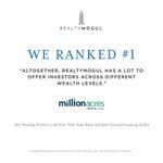 Thank you @themotleyfool! We're proud to announce that we received the No. 1 ranking in Motley Fool's recent analysis of Top Real Estate Crowdfunding Sites. View the full review here: https://t.co/gKpItjSbJr
