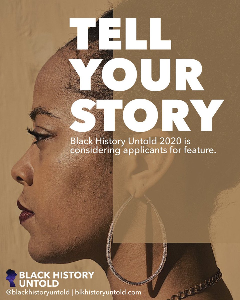Hey yall! I produce an award-winning project every year called Black History Untold & for the first time were considering applicants for feature. SO excited! For more info & how to apply: bit.ly/2IxOvNq Deadline Oct.16. RT