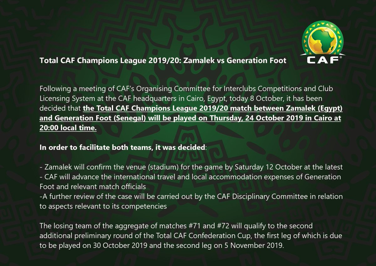🚨 Decision on the match between Zamalek and Generation Foot at #TotalCAFCL ➡️