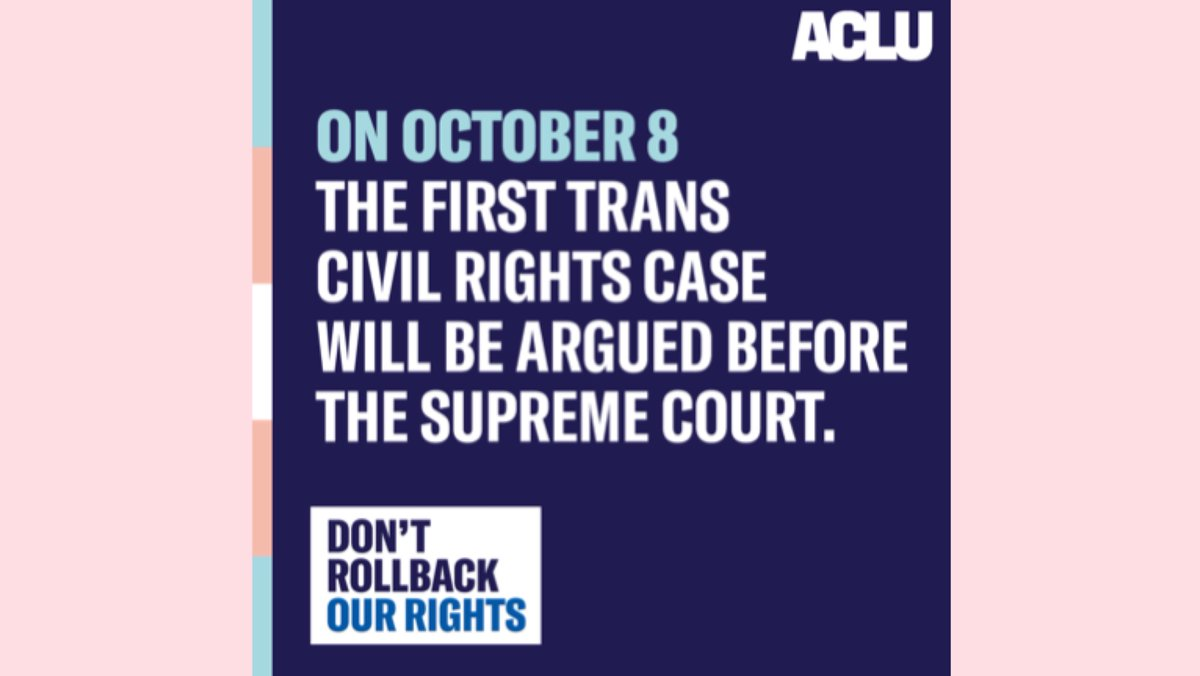 Nobody should be fired for being who they are. I'm joining with the @ACLU and supporting Aimee Stephens to say that trans people belong. This is a moment in history, #RiseUpOct8