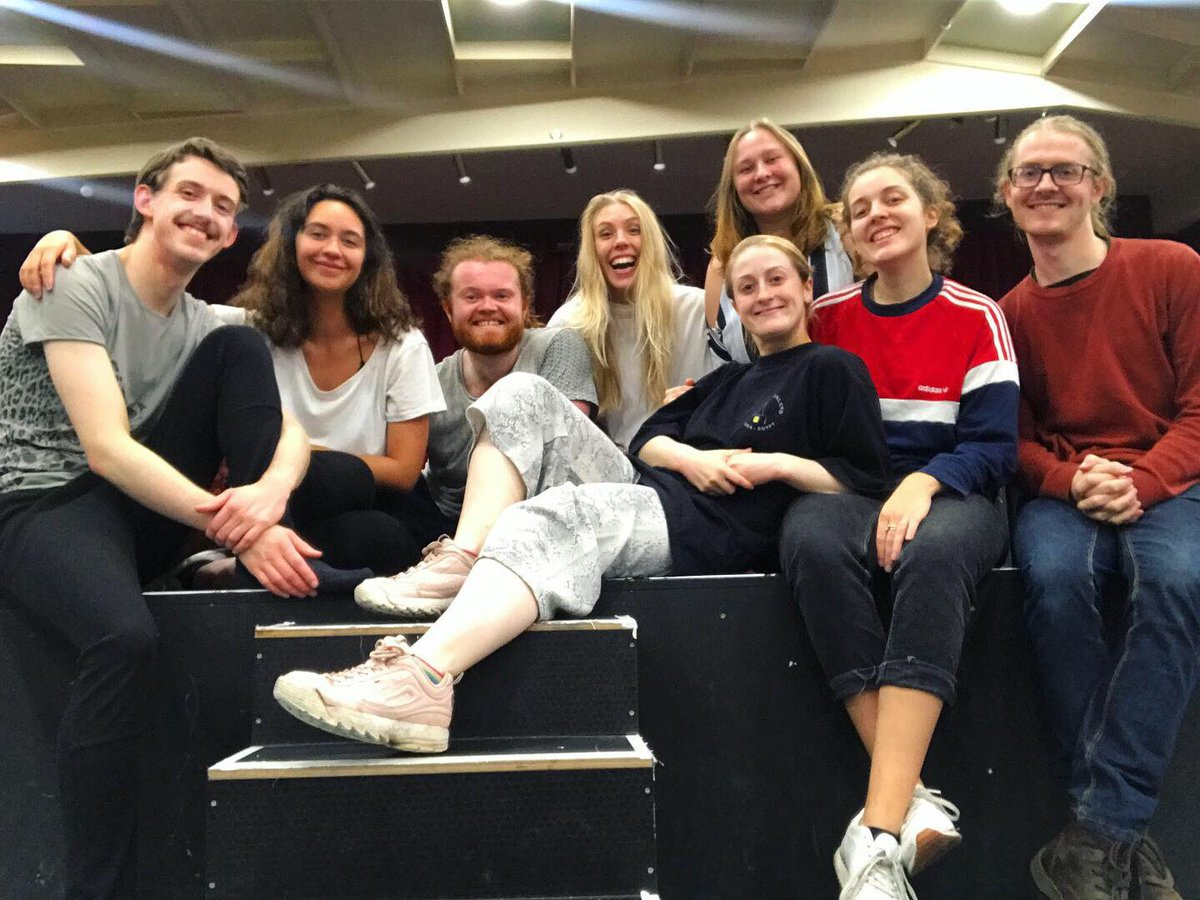 GOOD GRIEF rehearsals have BEGUN 💀 Meet your cast, Canice, Angelina, Adam, Jess, and Grace. Our Director Rachael, SM Rebecca and our musician Duncan. Now that is a TEAM! Thank you @SlungLow for having us at The Holbeck! Time to MAKE A SHOW in 11 DAYS! 🤪
