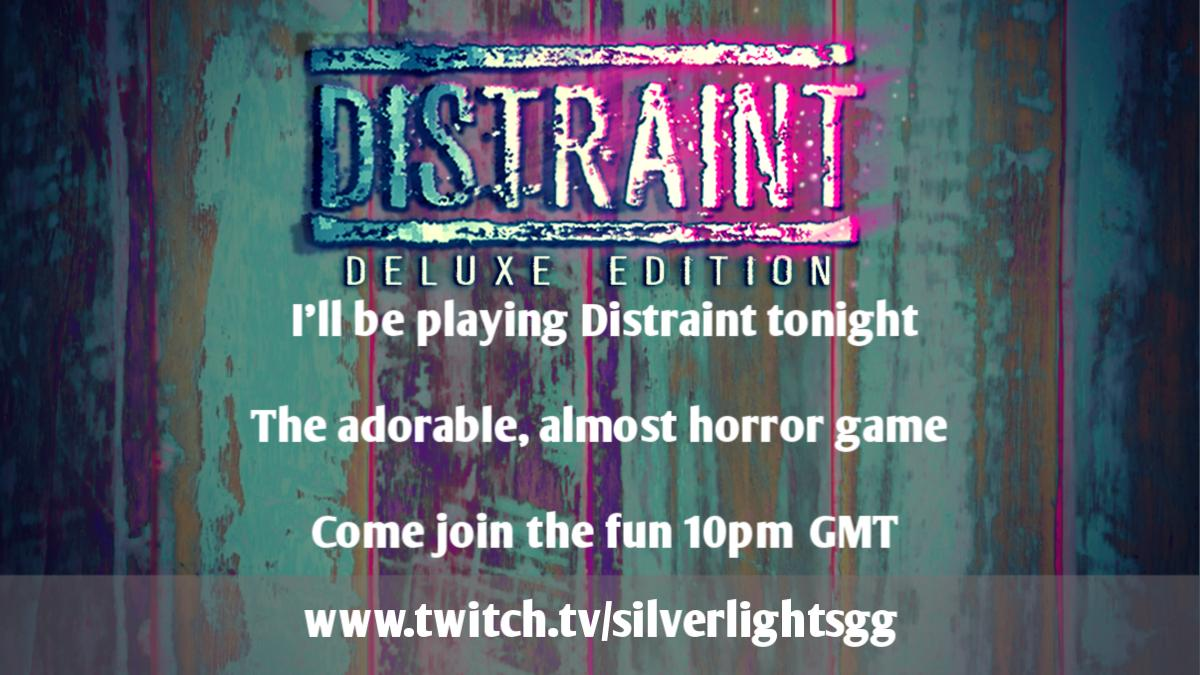 Hey there chat!  It's Horror game time again!  Come join me tonight for some Distraint - it should be an adorably fun time :)  Going live in an hour-ish! Link in bio <br>http://pic.twitter.com/HjXIYnhSEf