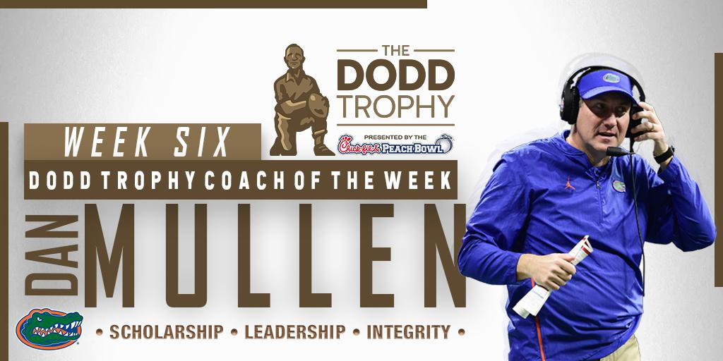 After leading @GatorsFB to an impressive upset over No. 7 Auburn this weekend, @CoachDanMullen is our Dodd Trophy Coach of the Week! The Gators are now 6-0 on the season and 3-0 in conference play! #GoGators 🐊