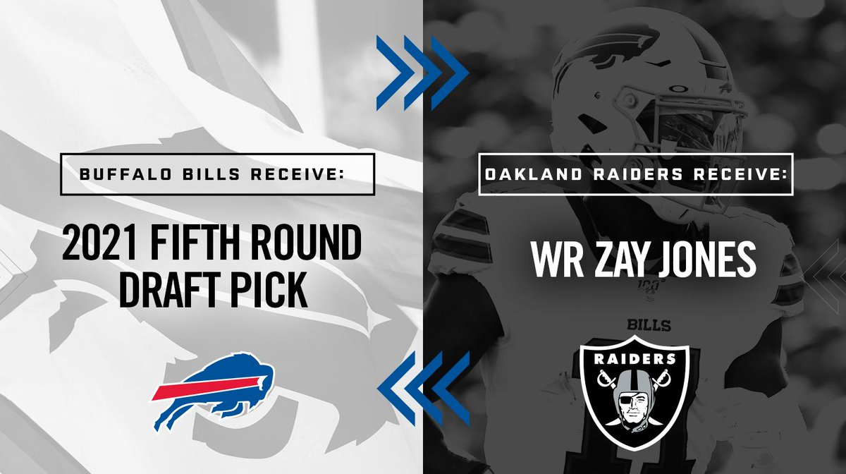 We've traded WR Zay Jones to the @Raiders in exchange for a 2021 fifth round draft pick. Details: bufbills.co/RSiasI
