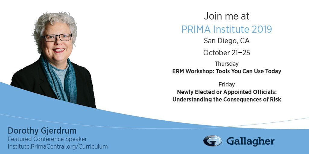 Join Dorothy Gjerdrum, Gallaghers Senior Managing Director of Public Sector, at the PRIMA Institute Conference in San Diego, California. bit.ly/35ktFdY