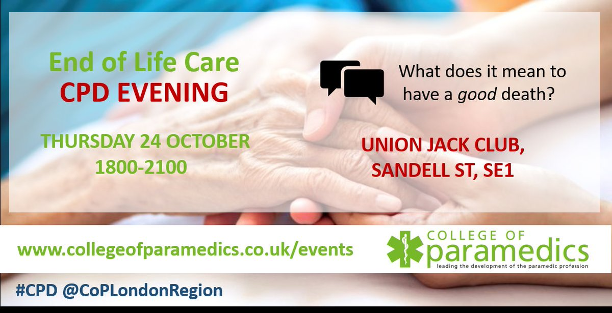 🚨 Evening #CPD event: #EndofLifeCare with #Paramedic Karina & #Macmillan Nurse Cons Diane.  Worked case studies, small group discussions, insight & consideration of opportunities for #EMS to help #EoLC pts  📆 24 October - book your place today! https://tinyurl.com/y4wpgnu3