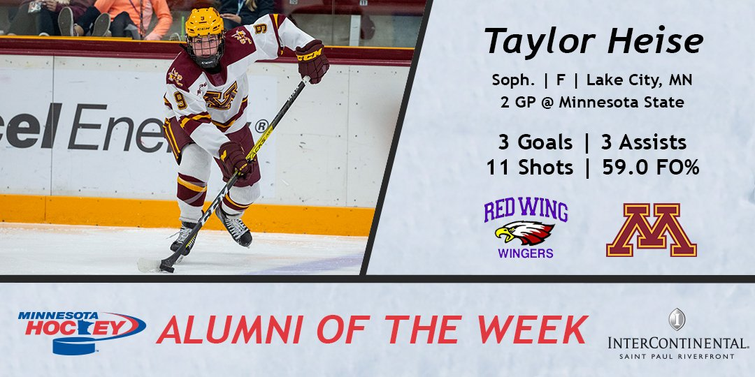 #StickTap to Taylor Heise on a six-point weekend and earning our Womens College Hockey Alumni of the Week, courtesy of Intercontinental St. Paul! @HeisemanT Photo Credit: Bruce Kluckhohn