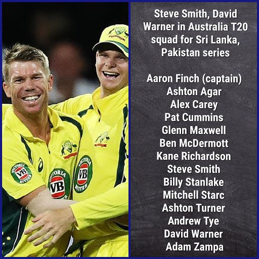 Steve Smith, David Warner in Australia T20 squad for Sri Lanka, Pakistan series  . .  . . #AUSvSL #SLvAUS #T20 #Australia #Cricket #CricketLife #CricketLover<br>http://pic.twitter.com/loaLw7KdDw