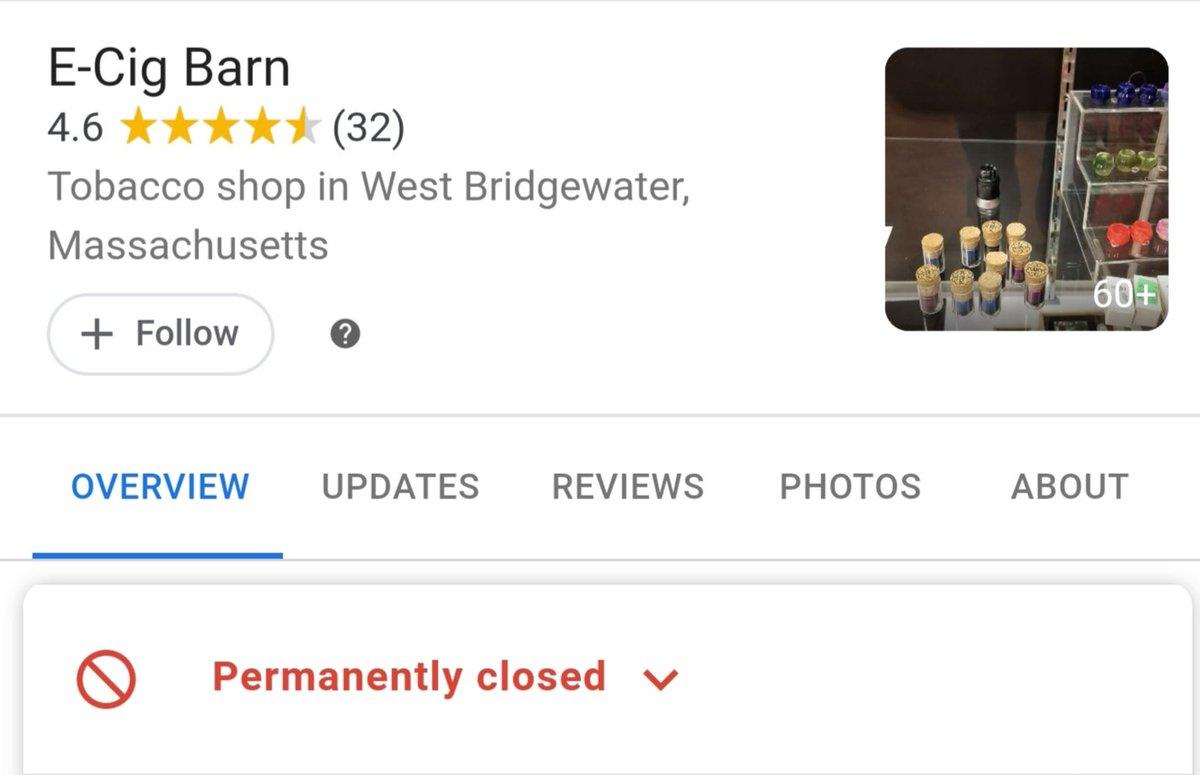 ANOTHER CASUALTY Permanently Closed: ECig Barn W. Bridgewater, MA @RepASullivan @SenJohnFKeenan@BruceJAyers @voteangelo@RepDuBois @kathylanatra@MatMuratore @repmarkcusack @MassGovernor @SenWarren @GrimmGreen @SuckMyMod#wevapewevote #vapingsaveslives