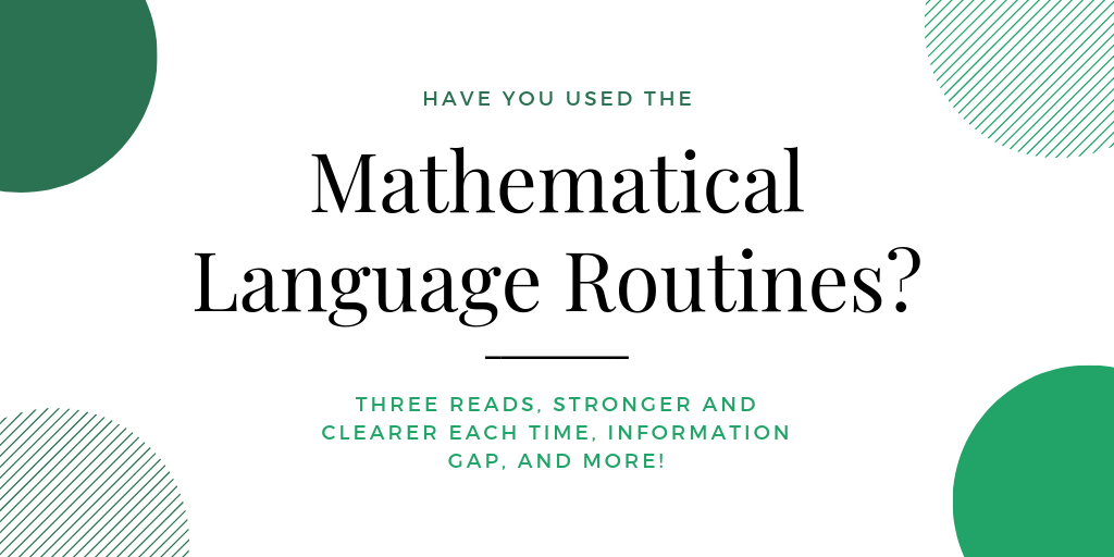 Mathematical Language Routines support students in using the vocabulary and academic discourse vital to mathematical thinking. Check them out today: https://t.co/UJHXLmjXcL #ELLchat #mathchat #MTBOS https://t.co/Hj7aNr4eN1