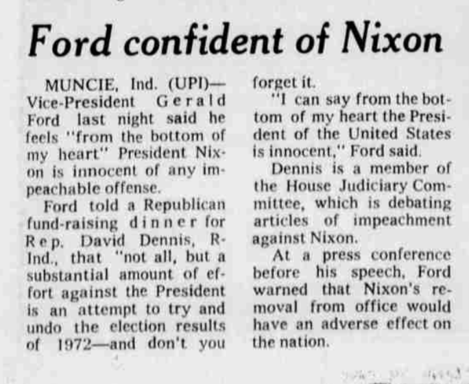 """On July 25, 1974, Vice President Gerald Ford told a Republican audience that the Watergate impeachment inquiry was in large part """"an attempt to try and undo the election results of 1972 -- and don't you forget it.""""  Two weeks later, President Richard Nixon resigned."""
